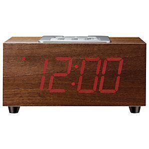 John Lewis Newton Clock Radio Ipod dock Unique Wood Effect LED Display