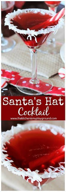 Santa's Hat Christmas Cocktail ~ With it's fun coconut rim & bright red color, this cocktail will certainly bring on the holiday cheer! #cocktails #Christmascocktails #Santa #Santacocktail #Christmas #holidaycheer #thekitchenismyplayground www.thekitchenismyplayground.com