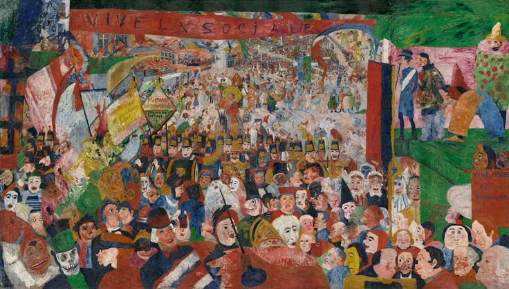 Christ's Entry into Brussels in 1889; James Ensor (Belgian, 1860 - 1949); Belgium; 1888; Oil on canvas; 252.7 x 430.5 cm (99 1/2 x 169 1/2 in.); 87.PA.96; Copyright: © 2014 Artists Rights Society (ARS), New York / SABAM, Brussels