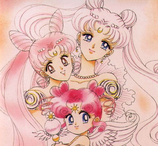 Manga Neo-Queen Serenity, Neo-Princess Serenity, and Chibi Chibi