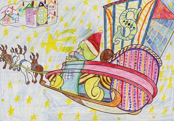じどう低学年部門 特別賞 青森ケーブルテレビ賞 インドネシア・スラバヤ日本人学校(http://sjs1979.com)いくみちゃん 7才「みんなにとどけようプレゼント!」★色彩豊かなソリの表現がとってもステキです! インドネシアからまた一人、小さなアーティストの登場ですね♪ 特別賞おめでとう☆