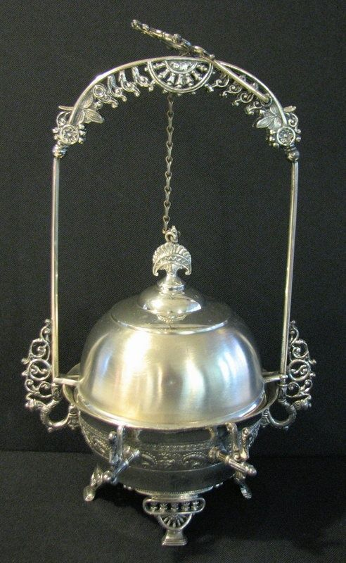 victorian butter dish | Victorian Mechanical Silverplate Butter Dish. ca. 1890, by Simpson ...