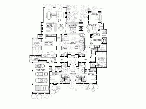 Italianate floor plan with two central courtyards dream for Italianate home plans