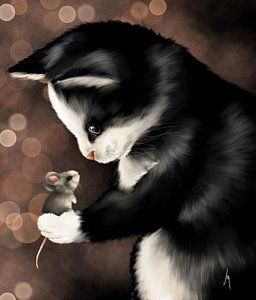 Cats Painting - My Little Friend by Veronica Minozzi