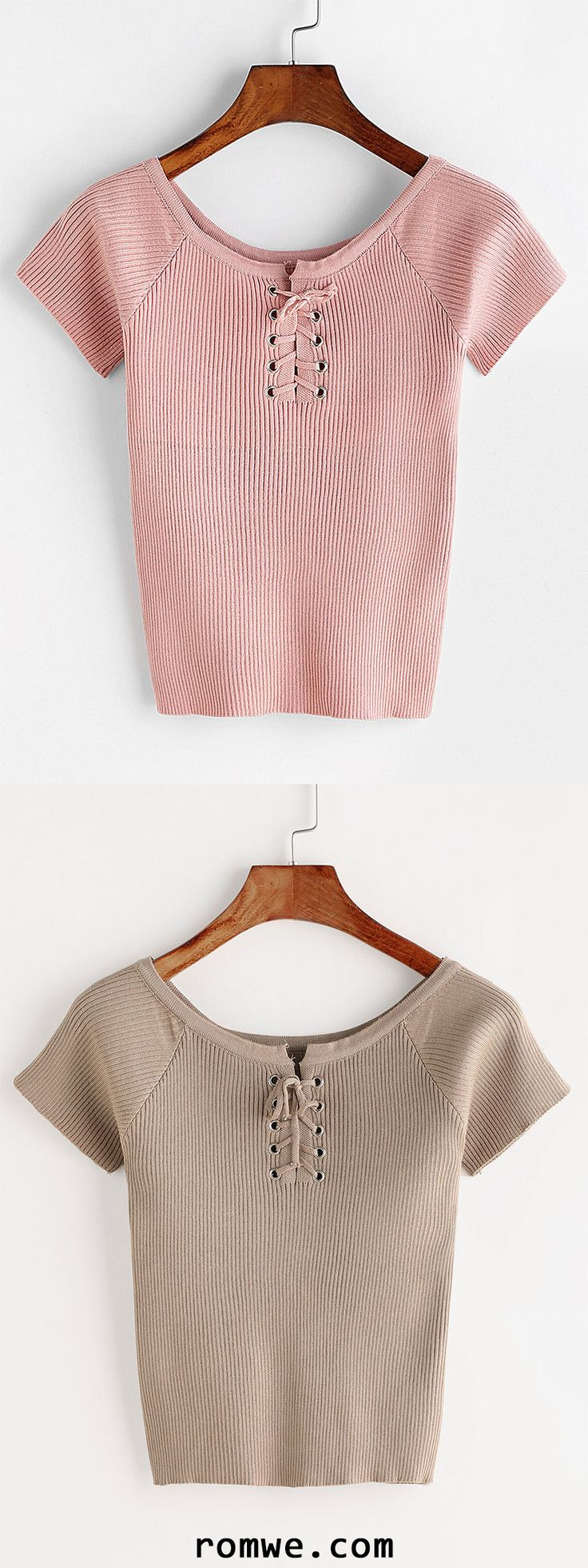 Lace Up Front Ribbed Knitted T-shirt