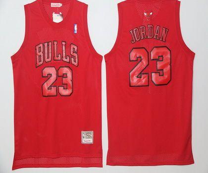 NBA Chicago Bulls 23 Michael Jordan Red Throwback Basketball Jersey With White Name
