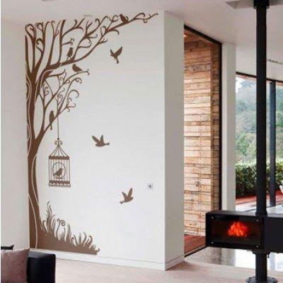 adesivo de parede de árvore com pássaros