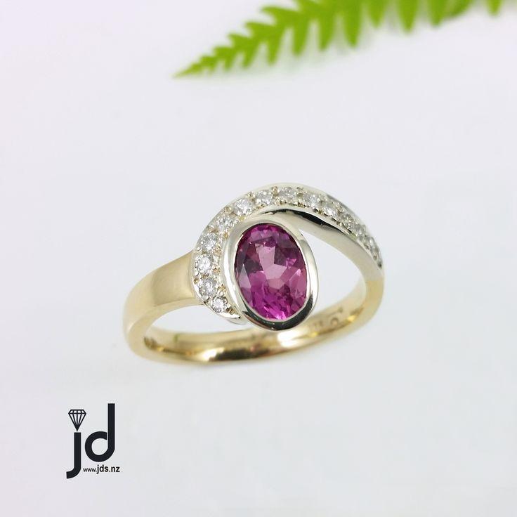 Pink Sapphire Ring   Diamonds   Yellow Gold   White Gold   www.jds.nz