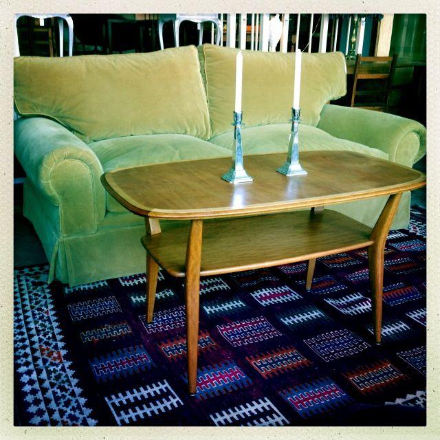 Velvet couch, coffee table, Aztec kelim