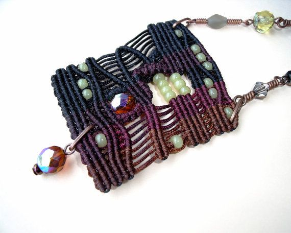 Micro macrame necklace - Black Brown Freeform Rustic Bohemian Free Spirit Unique