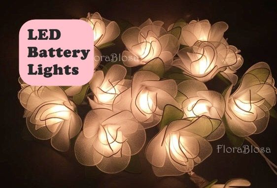 LED BATTERY LIGHT,20 White Rose Flower Fairy String Light Hanging Wedding Gift Party Patio Wall Floor,Bedroom String Lights Indoor Lights. by FloraBlossanova on Etsy https://www.etsy.com/listing/276326352/led-battery-light20-white-rose-flower