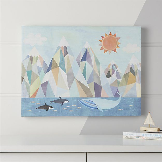 Mountain By The Sea Wall Art Crate And Barrel Sea Wall Art Elephant Wall Art Art Wall Kids