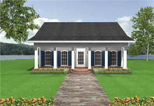 This house plan has an open floor plan with a covered porch and - simple house designs