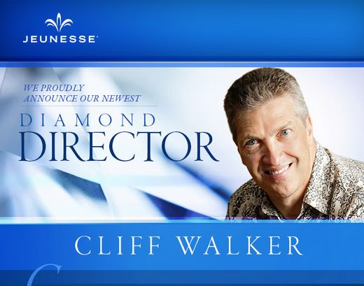 """""""My goal is help Jeunesse become a major force around the world."""" - Cliff Walker   Please join us in congratulating our newest Diamond Director!"""
