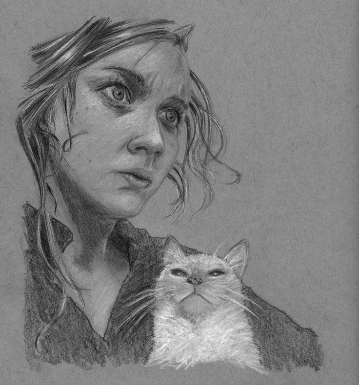 raisedbyothers - Girl and Cat - graphite and chalk on toned paper.