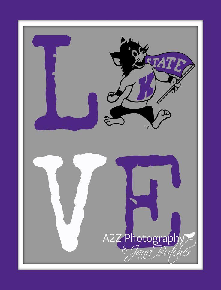 KSU Kansas State Wildcats Love 8x10 Print by A2Z Photography
