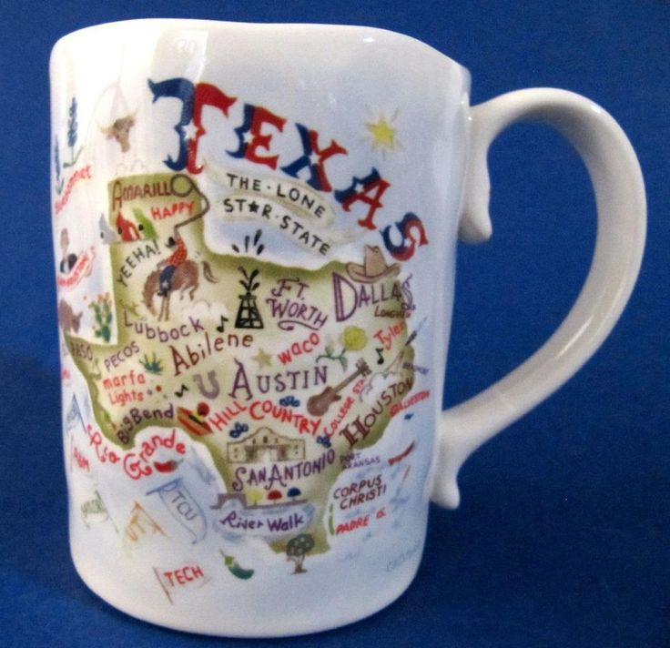 Texas State Mug Cup Catstudio Map Showing Cities Places of