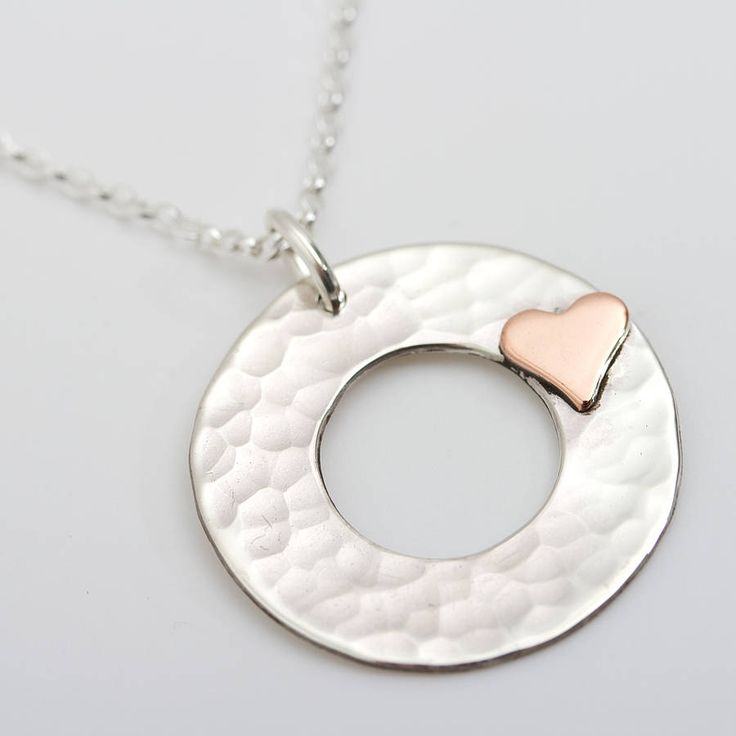 personalised beaten silver heart disc pendant by carole allen silver jewellery | notonthehighstreet.com