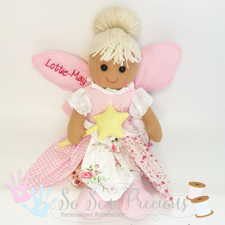 Personalised Rag Dollfairy birthday new baby by SoSewPreciousGifts