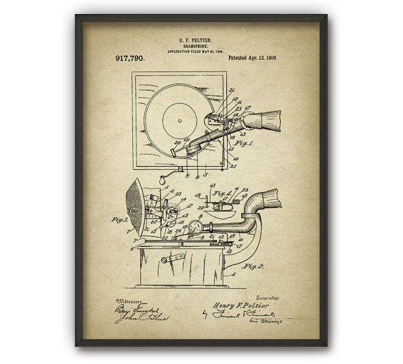 Gramophone Patent Print  1909 Gramophone Design  by QuantumPrints