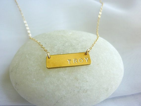 gold initial bar necklace-gold initial necklace-initial necklace-silver initial necklace-rectangle bar necklace-nameplate necklace