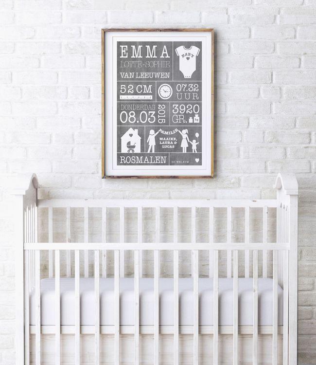 Baby Geboorte poster in zwart wit: gepersonaliseerde baby geboorte poster met gewicht, lengte, naam en geboorteplaats van printcandy.nl.
