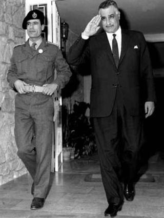 Egyptian president Gamal Abdel Nasser and the young Colonel Gaddafi of Libya in 1969