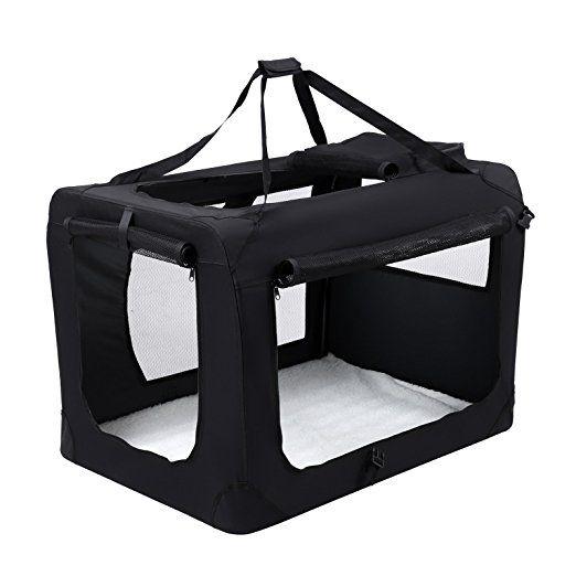 Songmics Caisse De Transport Pliable Pour Chien noir - S 50 x 35 x 35 cm