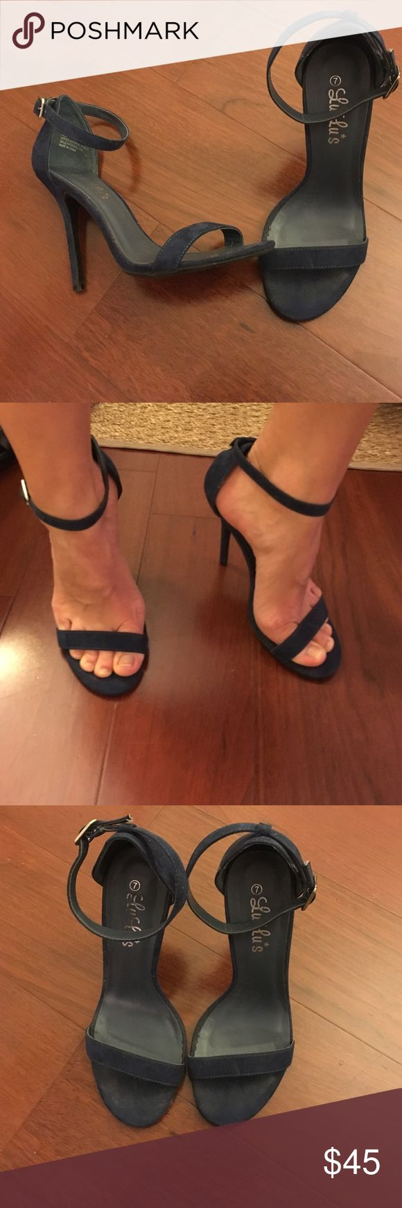 Simple navy blue ankle strap dress sandal Perfect navy blue ankle strap sandals, seamless, great with jeans Lulu's Shoes Heels