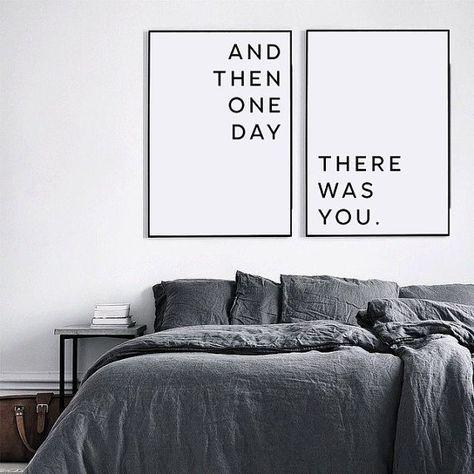 Master-Schlafzimmer-Wand-Dekor, druckbare Wandkunst, über dem Bett Kunst, druckbare Liebe Zitat, Affiche Scandinave, und dann eines Tages gab Sie