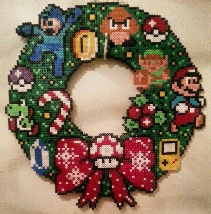 Beaded nintendo wreath