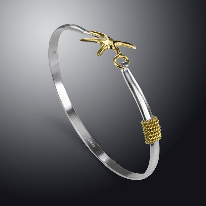 Sterling Silver Bangle with Gold Plated Starfish and Rope