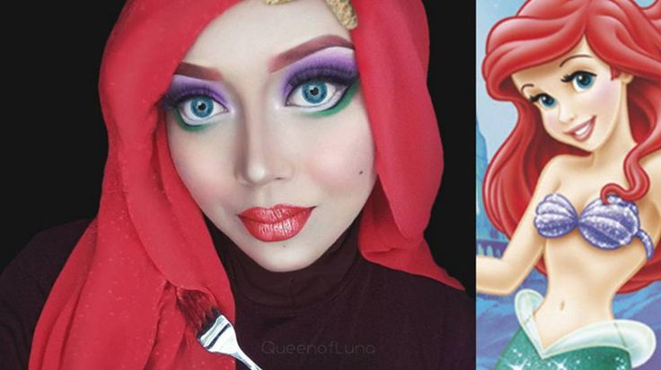 Wait 'til you see how uncannyher Mulan look is. Wait 'til you see how uncannyher Mulan look Geeks, Makeup Hijab, Princesa Ariel Disney, Sailor Moon Makeup, Alternative Disney Princesses, Creem, Hijab Collection, Disney Makeup, Evil Queens