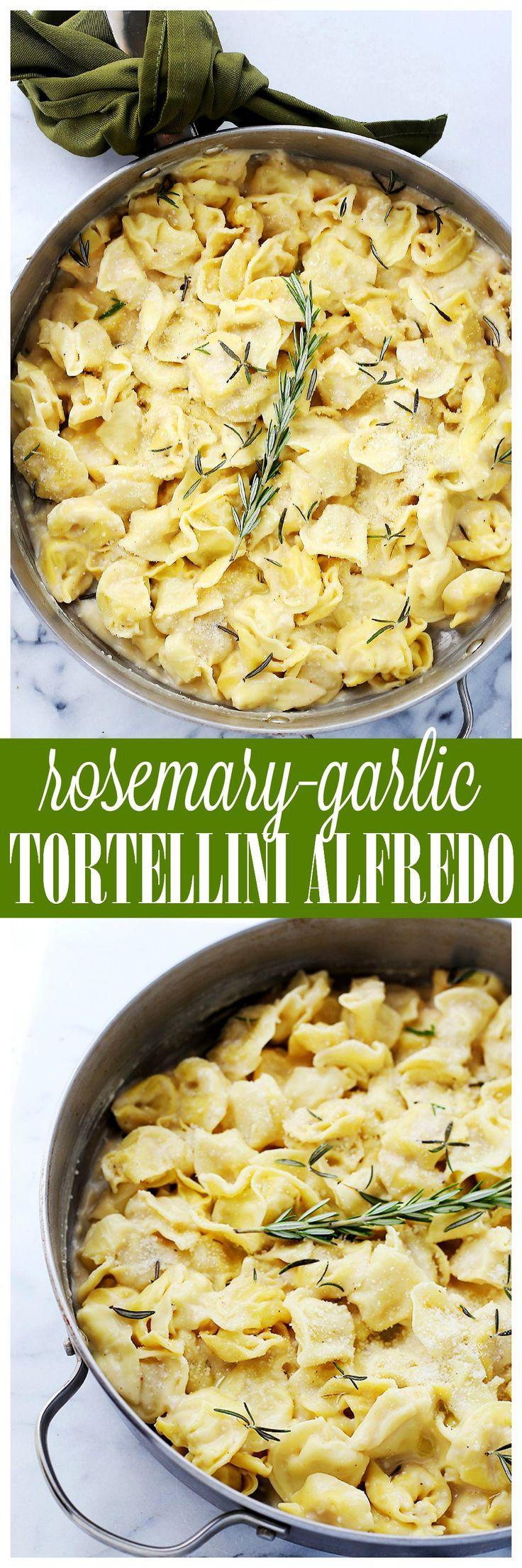 Rosemary Garlic Tortellini Alfredo - Easy, creamy, garlicky, 30-minute dinner with cheese tortellini and a lightened-up, homemade, flavorful Alfredo sauce.