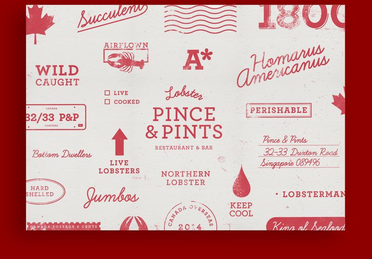 Placemat. Branding for Pince & Pints, a local restaurant and bar that specialises in lobster dishes.