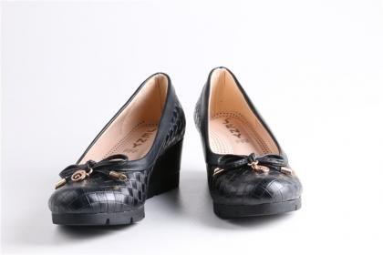 Jeny - Kadın Siyah Mikrofiber Deri Poli Taban Rahat Günlük Dolgu Topuk Ayakkabı
