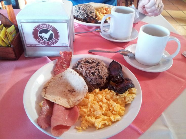 Typical Costa Rican breakfast. On our way to Monteverde. Caballo Blanco Restaurant.