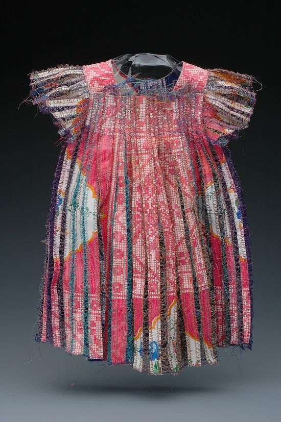 Textile Art - paper dress sculpture made from magazines, tea bags & wrapping paper, intricately stitched together with coloured threads // Donna Rhae Marder