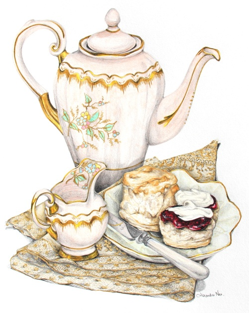 Scones with Clotted Cream and Strawberry Jam. Clare's collection of vintage china sits on a gorgeous hand-embroidered piece of lace discovered at Le Puces in Paris.