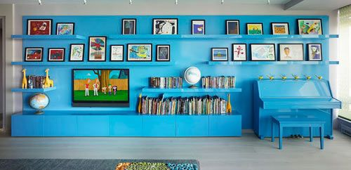 Colorful, Modern Kid Friendly Apartment by Incorporated Architecture & Design: Interior Design, Idea, Blue Wall, Color, Bohemian Apartment, Blue Piano, New York, Family Room, Apartments