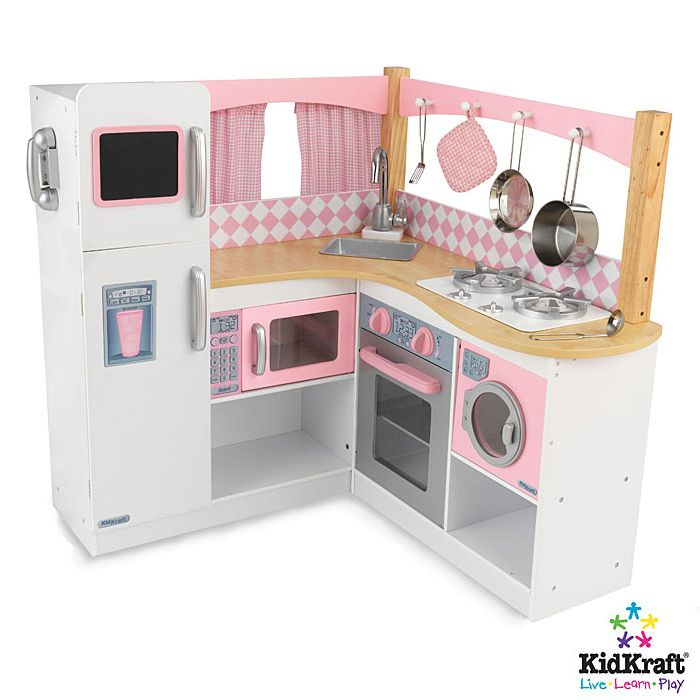 Playing with this Grand Gourmet Kitchen will make any kid feel like a world-class chef. This deluxe kitchen is loaded with fun details, including an innovative structure and an entire set of metal accessories.