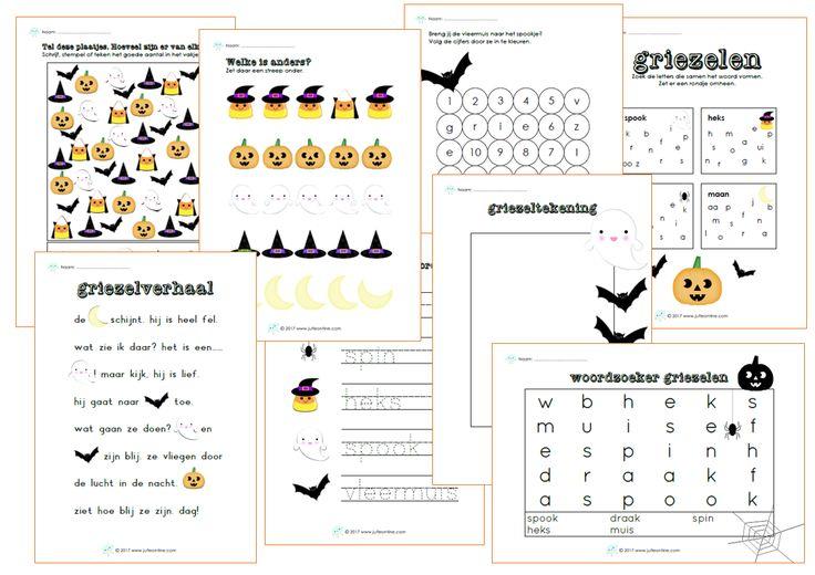 Werkbladen bij het thema griezelen voor kleuters voor de Kinderboekenweek van 2017.