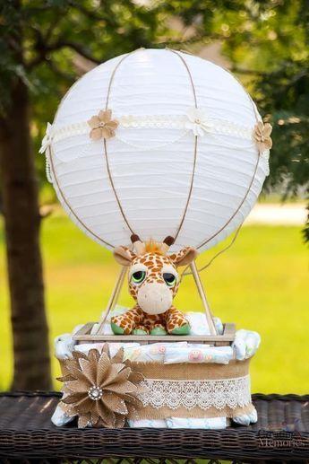 Einfacher Heißluftballon-Windeltorte für eine fabelhafte Baby-Dusche