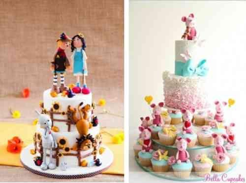 gâteaux à étages avec une base de cupcakes super mignons