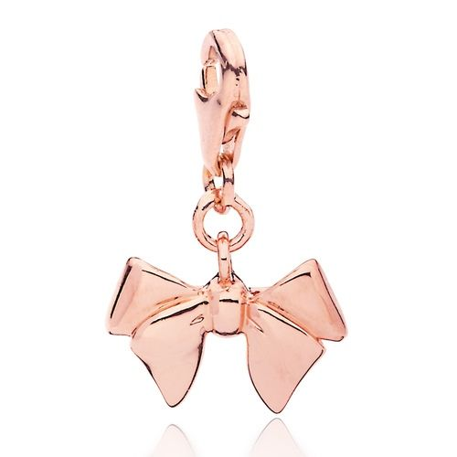 Delicate Bow Charm Rose Gold Plated