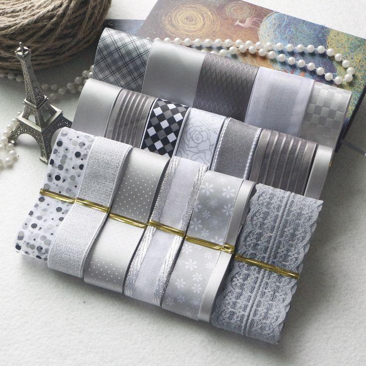НОВЫЙ СТИЛЬ! DIY Ленты Набор - Серый и Серебристый Цвет Микс Лента Набор (всего 21 м) -