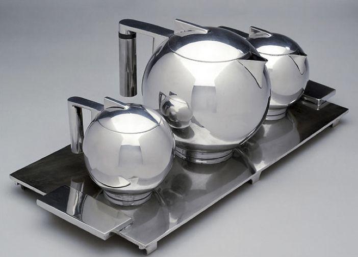 vintage Art Deco coffee set in silver, designed by Paul A. Lobel, 1934