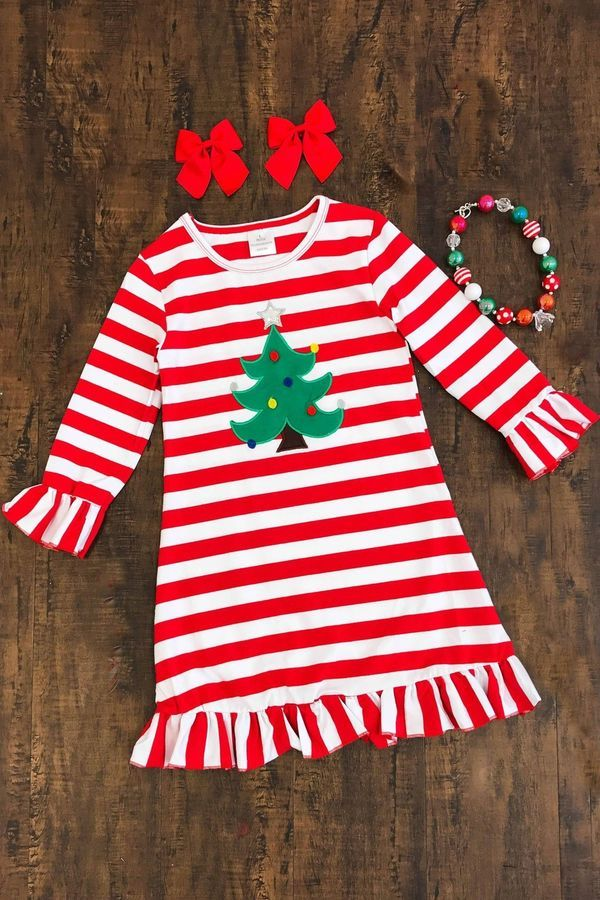 Xmas Toddler Baby Kids Girls Striped Princess Dress Christmas Outfits Clothes US