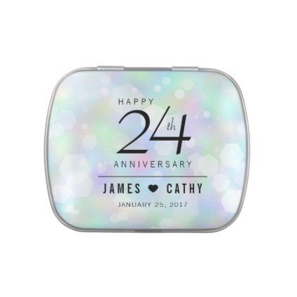 #Elegant 24th Opal Wedding Anniversary Celebration Jelly Belly Tins - #wedding gifts #marriage love couples