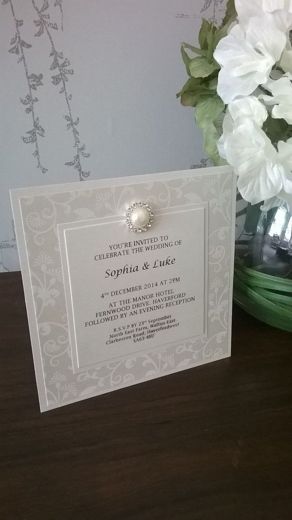 FLAT WEDDING INVITATION FROM THE SICILIA COLLECTION    This luxury invitation is made using quality ivory pearlescent cards and papers, a